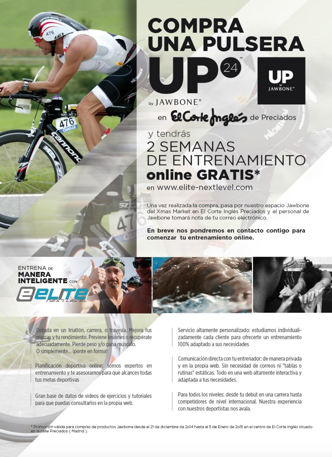 Cartel de promoción con Jawbone UP y El Corte Inglés