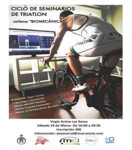 Cartel presentación seminario de biomecánica de ciclismo, por Yeyo Corral (Macrociclo, I+D Cycling)